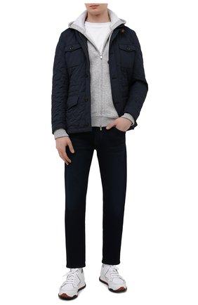 Мужская утепленная куртка laviani-trt MOORER синего цвета, арт. LAVIANI-TRT/M0UGI100075-TEPA032 | Фото 2 (Материал внешний: Синтетический материал; Длина (верхняя одежда): Короткие; Материал подклада: Синтетический материал; Кросс-КТ: Куртка; Рукава: Длинные; Стили: Классический; Мужское Кросс-КТ: пуховик-короткий)