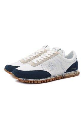 Мужские комбинированные кроссовки sean PREMIATA белого цвета, арт. SEAN/VAR5111 | Фото 1 (Материал внешний: Текстиль; Стили: Гранж; Материал внутренний: Натуральная кожа; Подошва: Плоская)