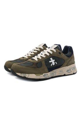 Мужские комбинированные кроссовки mase PREMIATA хаки цвета, арт. MASE/VAR5162 | Фото 1