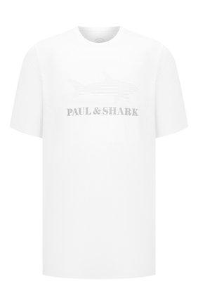 Мужская хлопковая футболка PAUL&SHARK белого цвета, арт. 21411019/HLK/3XL-6XL | Фото 1 (Материал внешний: Хлопок; Принт: С принтом; Стили: Кэжуэл; Рукава: Короткие; Длина (для топов): Удлиненные)