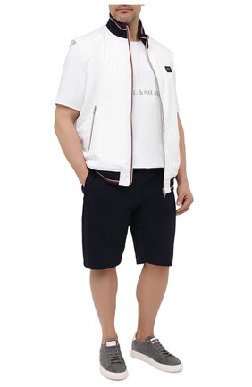 Мужская хлопковая футболка PAUL&SHARK белого цвета, арт. 21411019/HLK/3XL-6XL | Фото 2 (Материал внешний: Хлопок; Принт: С принтом; Стили: Кэжуэл; Рукава: Короткие; Длина (для топов): Удлиненные)