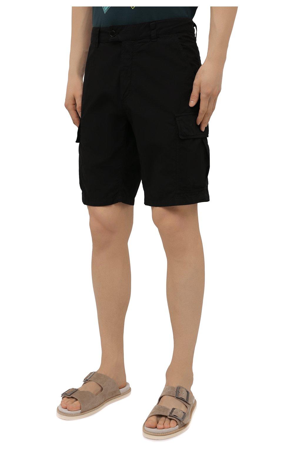 Мужские хлопковые шорты ASPESI черного цвета, арт. S1 A CQ31 G329 | Фото 3 (Мужское Кросс-КТ: Шорты-одежда; Длина Шорты М: До колена; Принт: Без принта; Материал внешний: Хлопок; Стили: Минимализм)