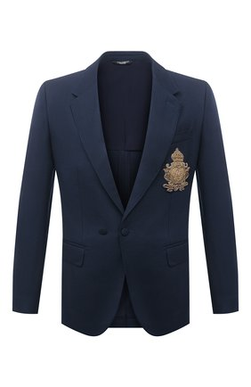 Мужской пиджак из шерсти и шелка DOLCE & GABBANA темно-синего цвета, арт. G2PN7Z/FU22A | Фото 1