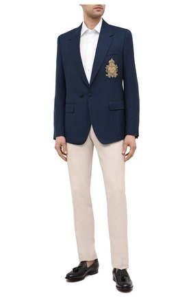 Мужской пиджак из шерсти и шелка DOLCE & GABBANA темно-синего цвета, арт. G2PN7Z/FU22A | Фото 2