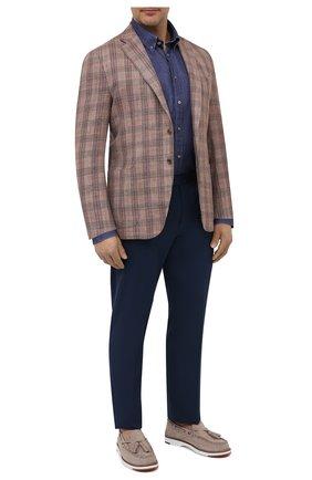 Мужская льняная рубашка PAUL&SHARK синего цвета, арт. 21413030/F7E/48-50   Фото 2