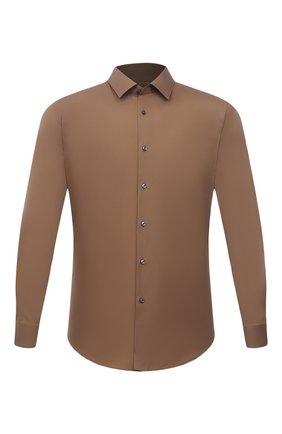 Мужская хлопковая сорочка BOSS коричневого цвета, арт. 50440261 | Фото 1