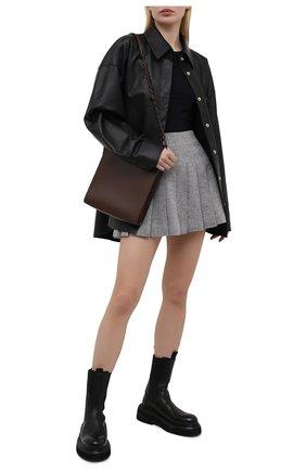 Женская юбка из хлопка и льна 404 NOT FOUND   серого цвета, арт. 700504   Фото 2