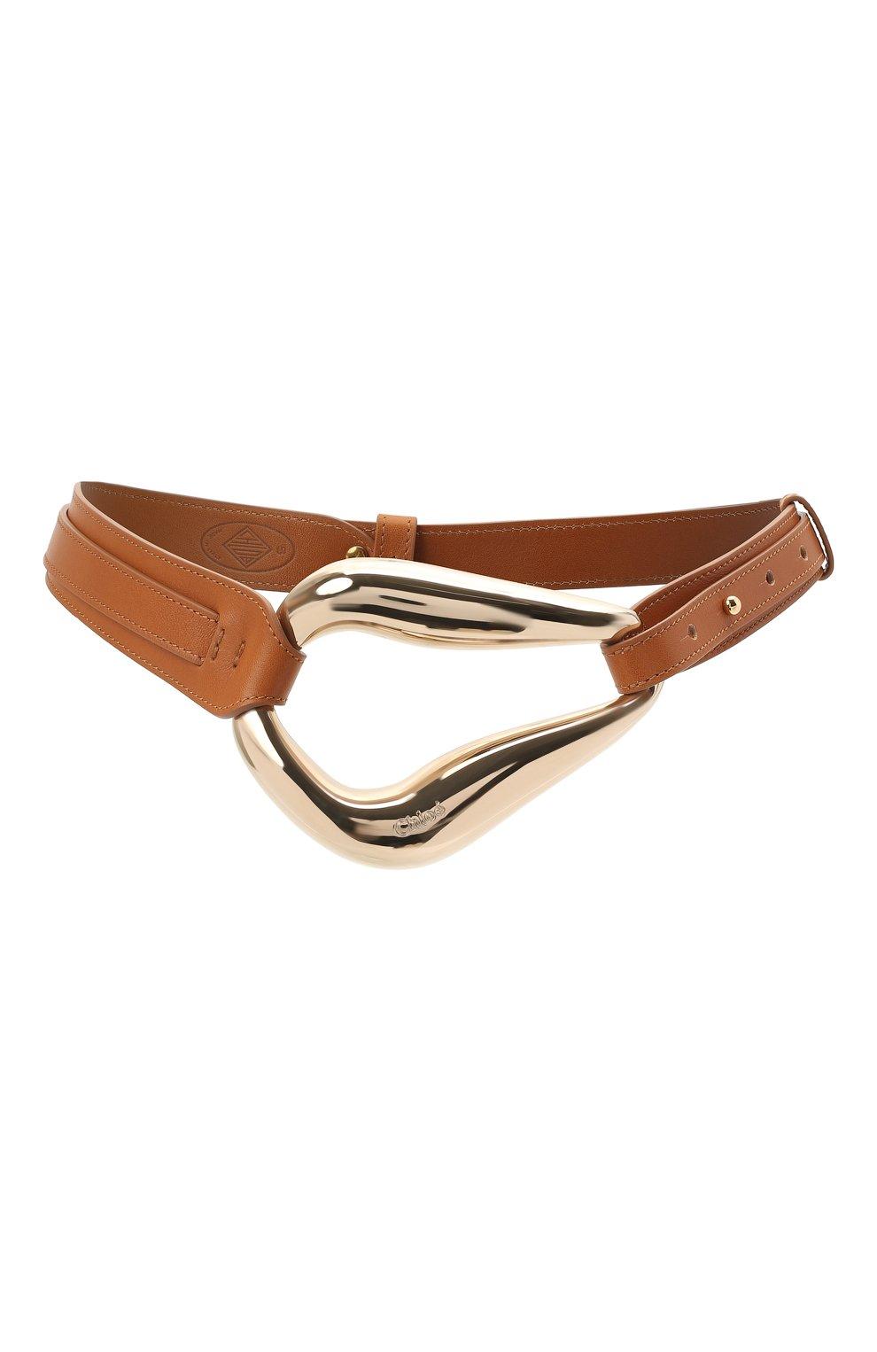 Женский кожаный пояс CHLOÉ коричневого цвета, арт. CHC21UC060AB6 | Фото 1