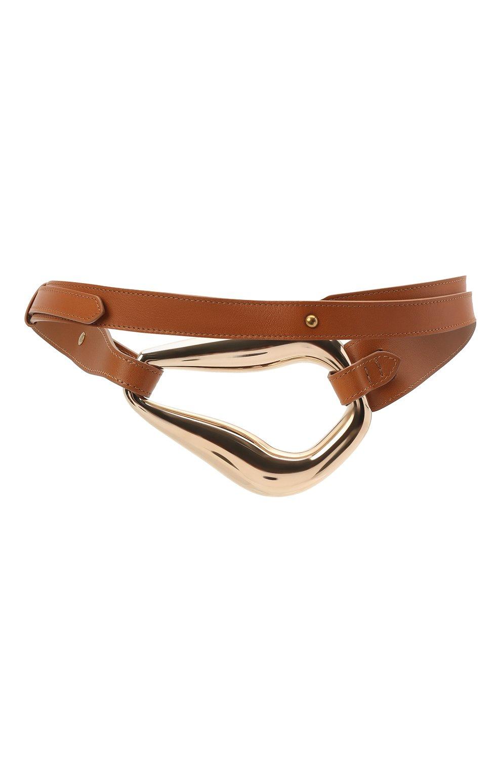 Женский кожаный пояс CHLOÉ коричневого цвета, арт. CHC21UC060AB6 | Фото 2