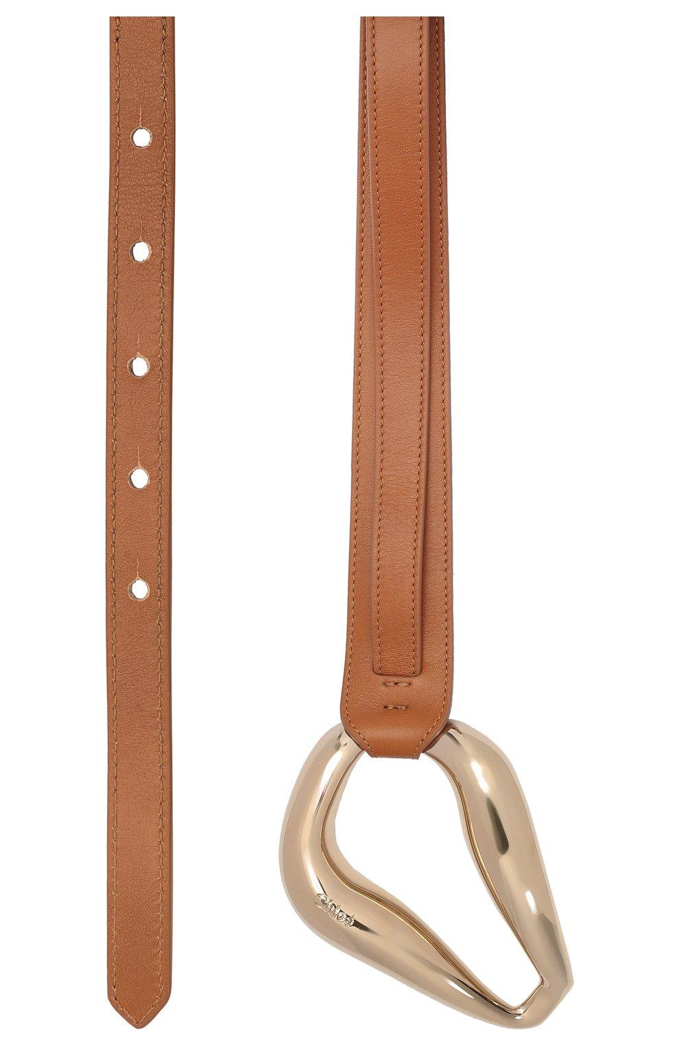 Женский кожаный пояс CHLOÉ коричневого цвета, арт. CHC21UC060AB6 | Фото 3