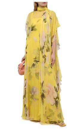 Женское шелковое платье VALENTINO желтого цвета, арт. VB0VDBY06DM   Фото 2
