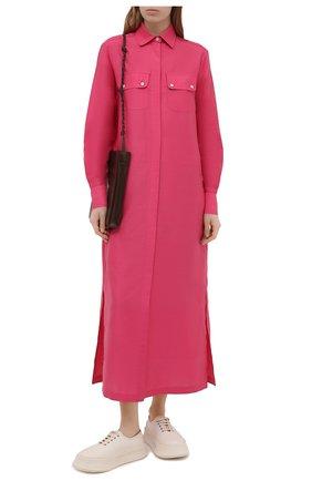 Женское платье из хлопка и льна KITON розового цвета, арт. D51381H07724 | Фото 2