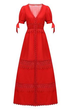 Женское хлопковое платье CHARO RUIZ IBIZA красного цвета, арт. 211625 | Фото 1 (Рукава: Короткие; Случай: Повседневный; Материал внешний: Хлопок; Длина Ж (юбки, платья, шорты): Макси; Стили: Романтичный; Материал подклада: Хлопок; Женское Кросс-КТ: Платье-одежда)