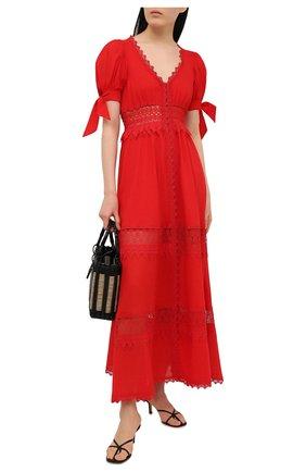 Женское хлопковое платье CHARO RUIZ IBIZA красного цвета, арт. 211625 | Фото 2 (Рукава: Короткие; Случай: Повседневный; Материал внешний: Хлопок; Длина Ж (юбки, платья, шорты): Макси; Стили: Романтичный; Материал подклада: Хлопок; Женское Кросс-КТ: Платье-одежда)