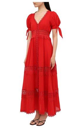 Женское хлопковое платье CHARO RUIZ IBIZA красного цвета, арт. 211625 | Фото 3 (Рукава: Короткие; Случай: Повседневный; Материал внешний: Хлопок; Длина Ж (юбки, платья, шорты): Макси; Стили: Романтичный; Материал подклада: Хлопок; Женское Кросс-КТ: Платье-одежда)