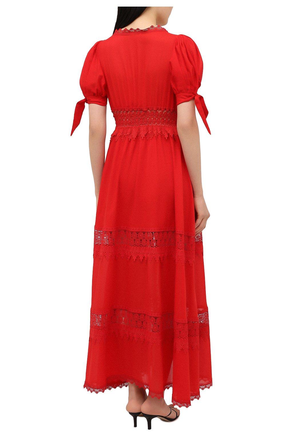 Женское хлопковое платье CHARO RUIZ IBIZA красного цвета, арт. 211625 | Фото 4 (Рукава: Короткие; Случай: Повседневный; Материал внешний: Хлопок; Длина Ж (юбки, платья, шорты): Макси; Стили: Романтичный; Материал подклада: Хлопок; Женское Кросс-КТ: Платье-одежда)
