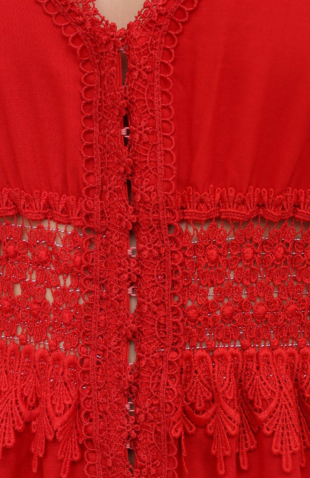 Женское хлопковое платье CHARO RUIZ IBIZA красного цвета, арт. 211625 | Фото 5 (Рукава: Короткие; Случай: Повседневный; Материал внешний: Хлопок; Длина Ж (юбки, платья, шорты): Макси; Стили: Романтичный; Материал подклада: Хлопок; Женское Кросс-КТ: Платье-одежда)