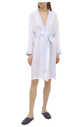 Женский льняной халат CELESTINE голубого цвета, арт. 70000749/ANC0NA KIM0N0 | Фото 2