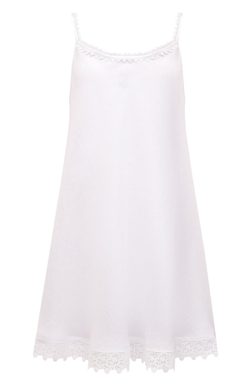 Женская льняная сорочка CELESTINE белого цвета, арт. 30002682/CLAUDINE T0P | Фото 1 (Длина Ж (юбки, платья, шорты): Мини; Материал внешний: Лен)