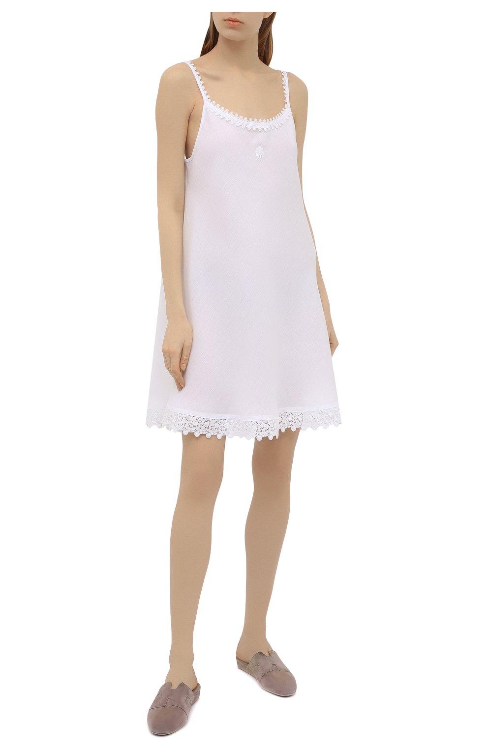Женская льняная сорочка CELESTINE белого цвета, арт. 30002682/CLAUDINE T0P | Фото 2 (Длина Ж (юбки, платья, шорты): Мини; Материал внешний: Лен)