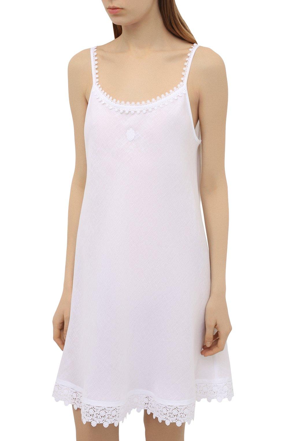 Женская льняная сорочка CELESTINE белого цвета, арт. 30002682/CLAUDINE T0P | Фото 3 (Длина Ж (юбки, платья, шорты): Мини; Материал внешний: Лен)