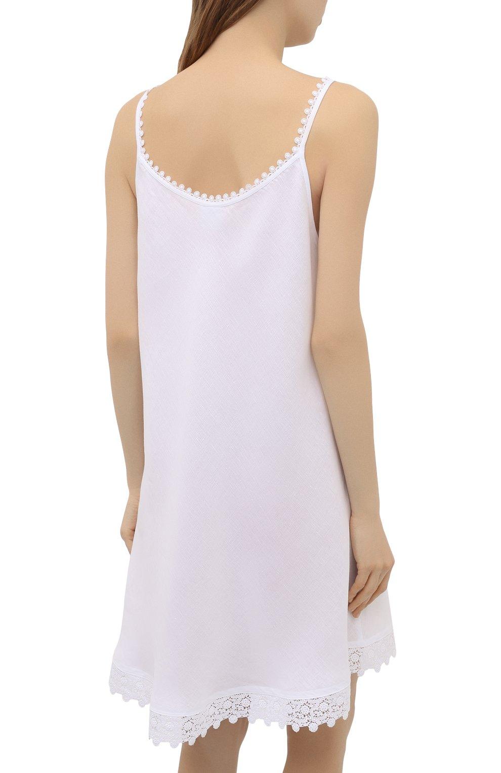 Женская льняная сорочка CELESTINE белого цвета, арт. 30002682/CLAUDINE T0P | Фото 4 (Длина Ж (юбки, платья, шорты): Мини; Материал внешний: Лен)
