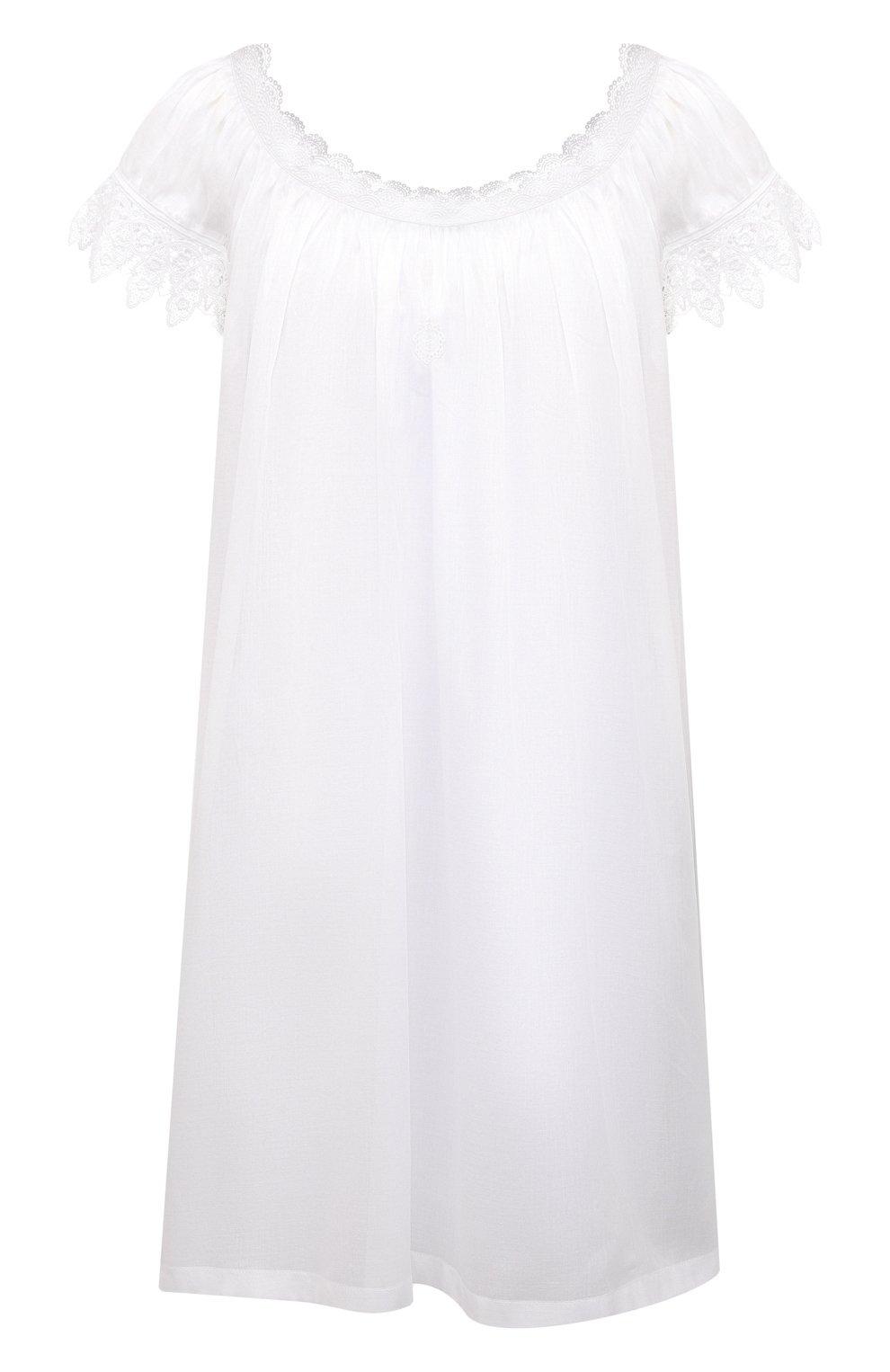 Женская хлопковая сорочка CELESTINE белого цвета, арт. 30002692/YVETTE-2 BD | Фото 1 (Длина Ж (юбки, платья, шорты): Мини; Рукава: Короткие; Материал внешний: Хлопок)