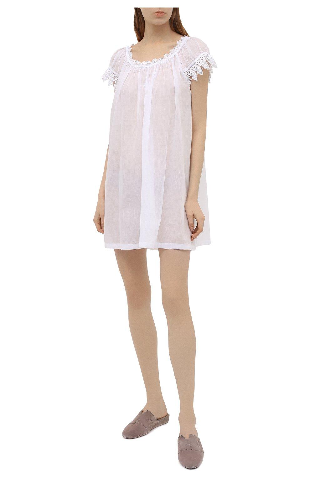 Женская хлопковая сорочка CELESTINE белого цвета, арт. 30002692/YVETTE-2 BD | Фото 2 (Длина Ж (юбки, платья, шорты): Мини; Рукава: Короткие; Материал внешний: Хлопок)
