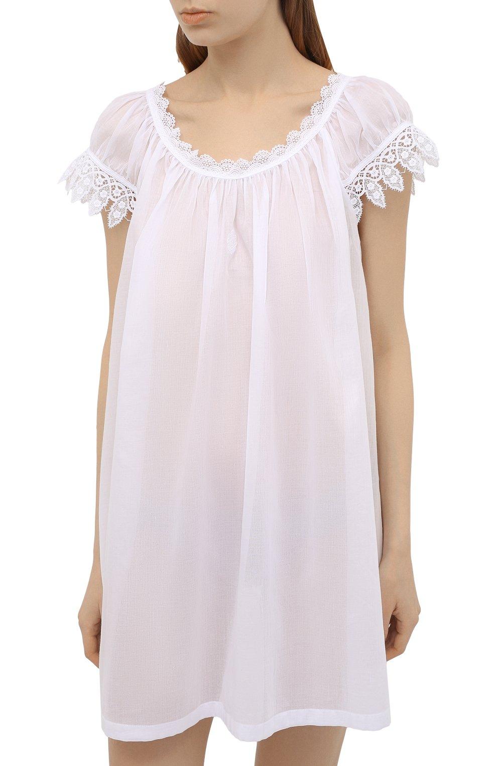 Женская хлопковая сорочка CELESTINE белого цвета, арт. 30002692/YVETTE-2 BD | Фото 3 (Длина Ж (юбки, платья, шорты): Мини; Рукава: Короткие; Материал внешний: Хлопок)
