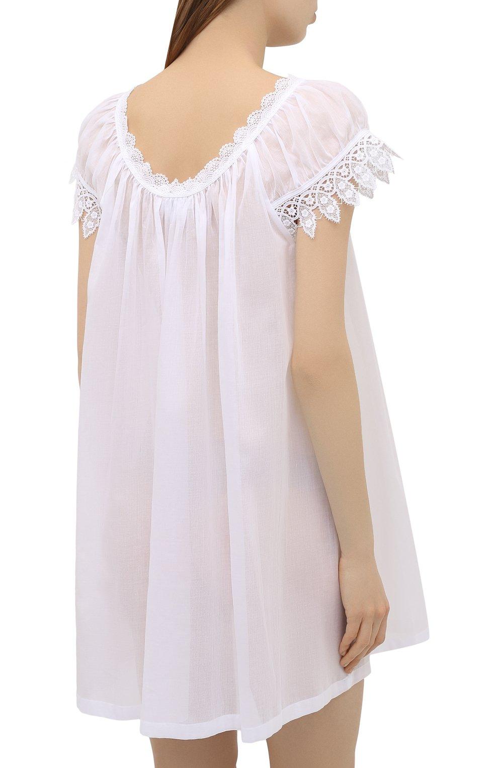 Женская хлопковая сорочка CELESTINE белого цвета, арт. 30002692/YVETTE-2 BD | Фото 4 (Длина Ж (юбки, платья, шорты): Мини; Рукава: Короткие; Материал внешний: Хлопок)