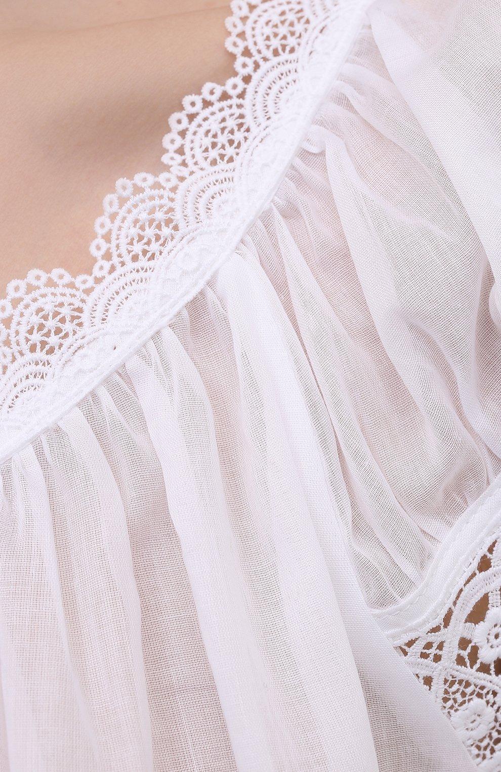 Женская хлопковая сорочка CELESTINE белого цвета, арт. 30002692/YVETTE-2 BD | Фото 5 (Длина Ж (юбки, платья, шорты): Мини; Рукава: Короткие; Материал внешний: Хлопок)