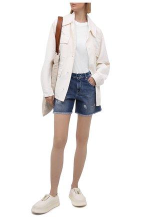 Женские джинсовые шорты JACOB COHEN синего цвета, арт. GWEN F 02134-W2/55 | Фото 2 (Кросс-КТ: Деним; Женское Кросс-КТ: Шорты-одежда; Стили: Кэжуэл; Длина Ж (юбки, платья, шорты): Мини; Материал внешний: Хлопок)