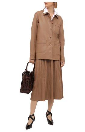 Женская кожаная юбка GABRIELA HEARST бежевого цвета, арт. 221309 L018 | Фото 2
