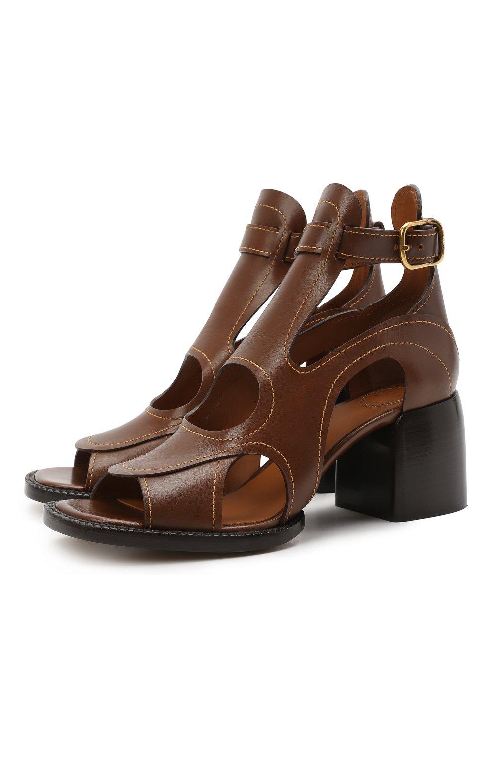 Женские кожаные босоножки gaile CHLOÉ коричневого цвета, арт. CHC21U420L4   Фото 1