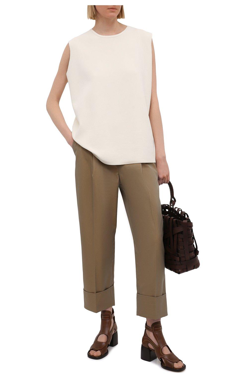 Женские кожаные босоножки gaile CHLOÉ коричневого цвета, арт. CHC21U420L4   Фото 2