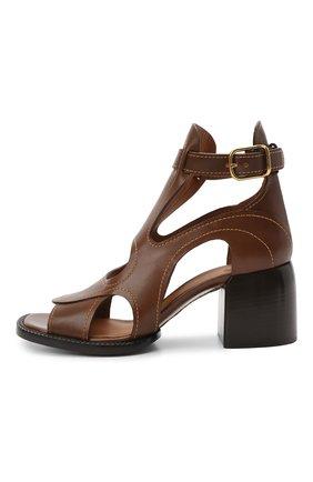 Женские кожаные босоножки gaile CHLOÉ коричневого цвета, арт. CHC21U420L4   Фото 3