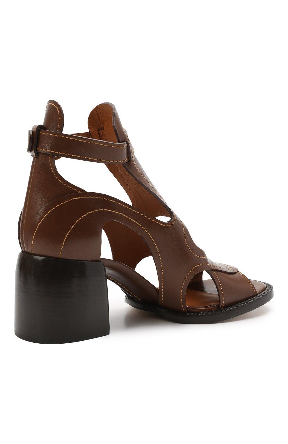 Женские кожаные босоножки gaile CHLOÉ коричневого цвета, арт. CHC21U420L4   Фото 4
