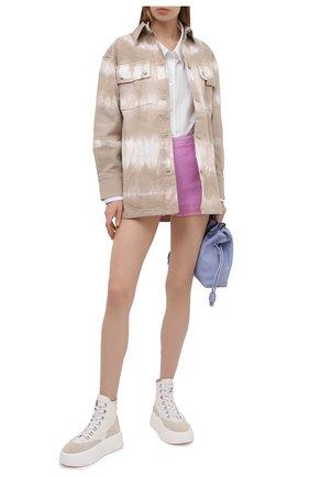 Женские хлопковые шорты MSGM сиреневого цвета, арт. 3042MDB102X 217306 | Фото 2
