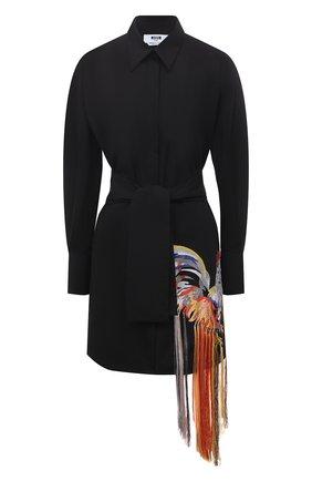 Женская хлопковая рубашка MSGM черного цвета, арт. 3042MDA128X 217307 | Фото 1