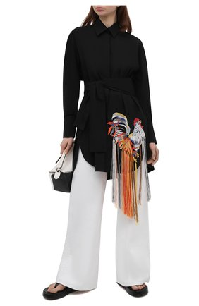 Женская хлопковая рубашка MSGM черного цвета, арт. 3042MDA128X 217307 | Фото 2