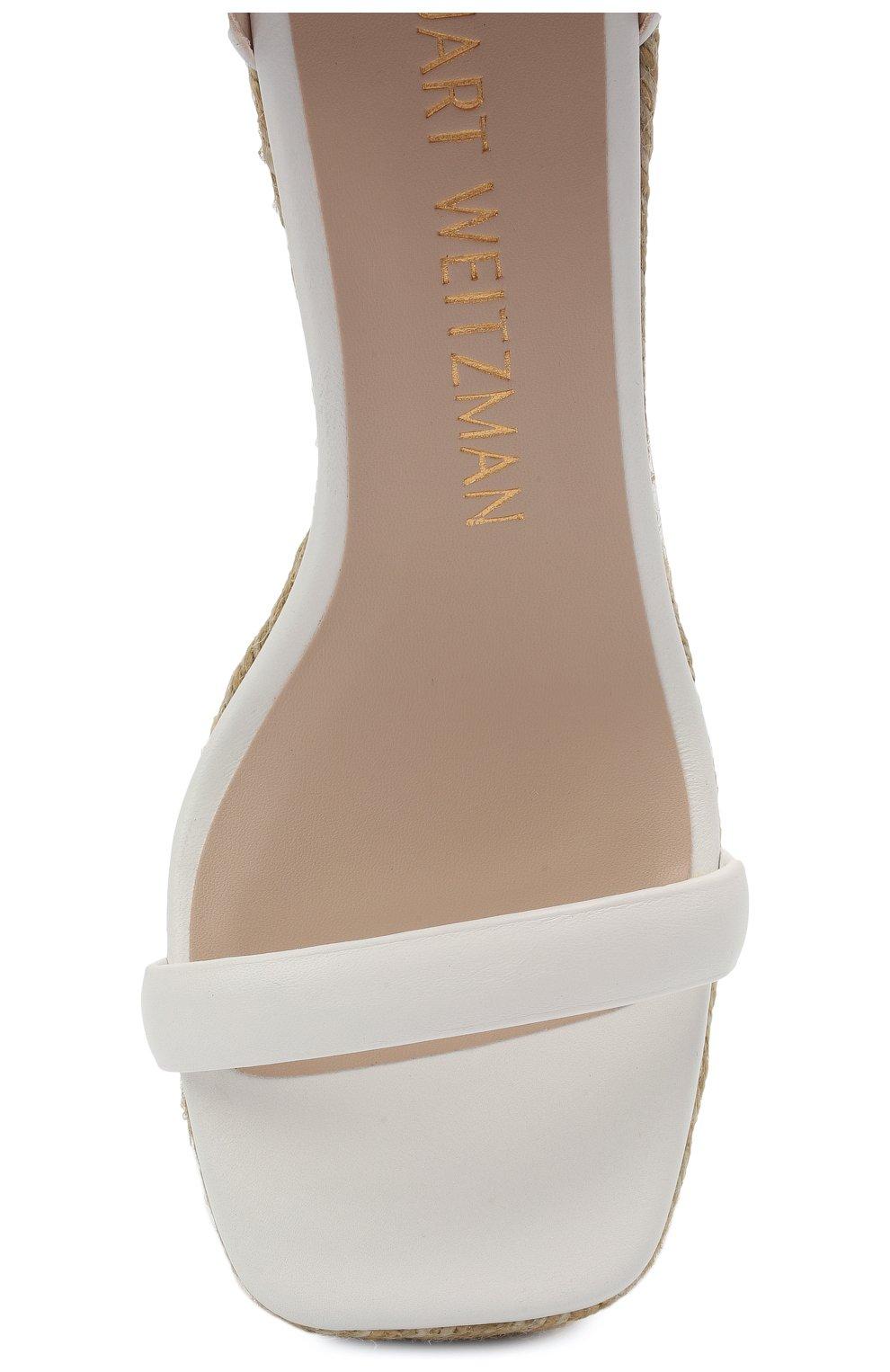 Женские кожаные босоножки nudist STUART WEITZMAN белого цвета, арт. S0996 | Фото 5 (Каблук тип: Танкетка; Подошва: Платформа; Каблук высота: Высокий; Материал внутренний: Натуральная кожа)