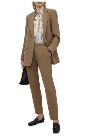 Женские брюки из шерсти и вискозы DRIES VAN NOTEN бежевого цвета, арт. 211-10909-2301 | Фото 2