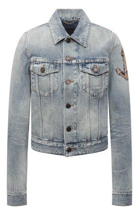 Женская джинсовая куртка SAINT LAURENT голубого цвета, арт. 653464/Y864L   Фото 1 (Рукава: Длинные; Кросс-КТ: Куртка, Деним; Длина (верхняя одежда): Короткие; Стили: Гламурный; Материал внешний: Хлопок)