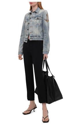 Женская джинсовая куртка SAINT LAURENT голубого цвета, арт. 653464/Y864L   Фото 2 (Рукава: Длинные; Кросс-КТ: Куртка, Деним; Длина (верхняя одежда): Короткие; Стили: Гламурный; Материал внешний: Хлопок)