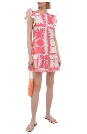 Женское платье REDVALENTINO светло-розового цвета, арт. VR0VAAD0/5SA   Фото 2 (Случай: Повседневный; Материал внешний: Синтетический материал, Хлопок; Рукава: Короткие; Стили: Романтичный; Женское Кросс-КТ: Платье-одежда; Длина Ж (юбки, платья, шорты): Мини)