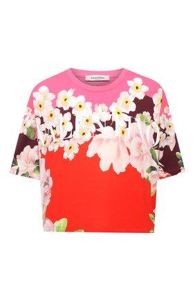 Женская хлопковая футболка VALENTINO разноцветного цвета, арт. VB0MG13H6FB   Фото 1