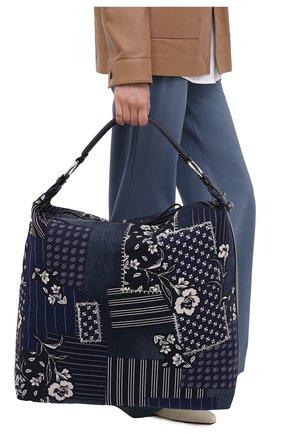 Женский сумка RALPH LAUREN синего цвета, арт. 435841239 | Фото 2 (Размер: large; Сумки-технические: Сумки-шопперы; Материал: Текстиль; Ремень/цепочка: На ремешке)