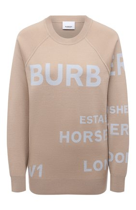 Женский шерстяной пуловер BURBERRY бежевого цвета, арт. 8040224   Фото 1