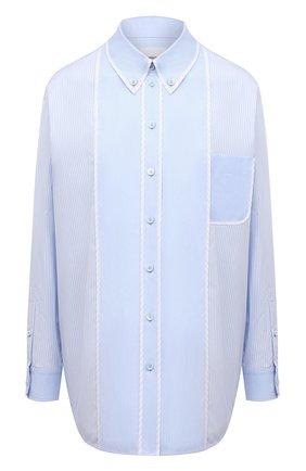 Женская хлопковая рубашка BURBERRY голубого цвета, арт. 8039396 | Фото 1