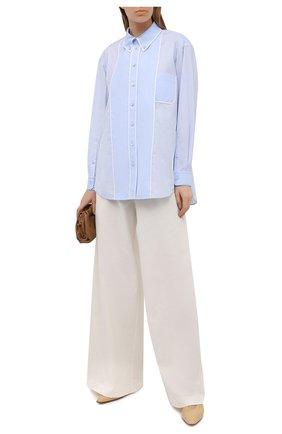 Женская хлопковая рубашка BURBERRY голубого цвета, арт. 8039396 | Фото 2